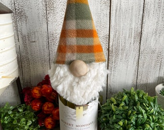 Thanksgiving Gnome Wine Bottle Topper - fall autumn gifts hostess party cocktails decor tiered tray vignette table setting