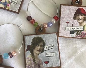 Wine glass charms Set of 6 - Party favor hostess gift place settings event decor sassy diva funny girlfriend hostess housewarming