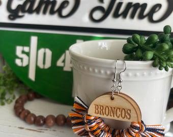 Broncos earrings - dangle statement fringe wood football team spirit jewelry high school college orange white navy