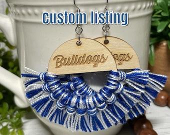 Custom Fringe earrings - dangle statement wooden football team spirit jewelry high school college tassel lightweight jewelry little league