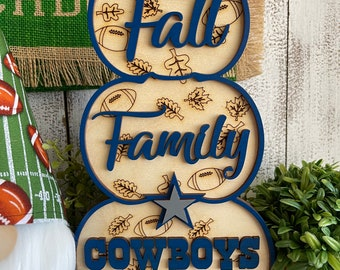 Fall Family Football wood sign - stacked pumpkins Thanksgiving sports NFL fan spirit touchdown Cowboys