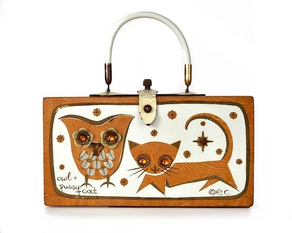 "Enid Collins of Texas 1965 ""owl + pussycat"" box ba"
