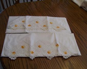 Vintage, Crochet, Pillowcase Pair, Set of 2, Hand Crocheted, Peach, Orange, Rosette, Crochet Pillow Case, Shabby Cottage