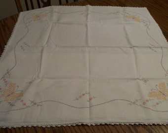 """Butterfly Table Topper Vintage Embroidered Tablecloth with Crocheted Border Hand Stitched Yellow Butterflies 28"""" x 34"""""""
