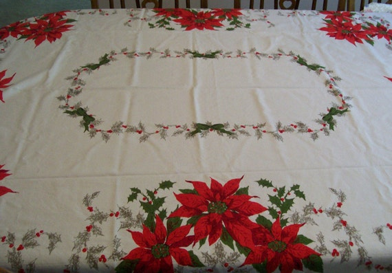 Vintage Red Poinsettia Tablecloth Holiday Christmas Table