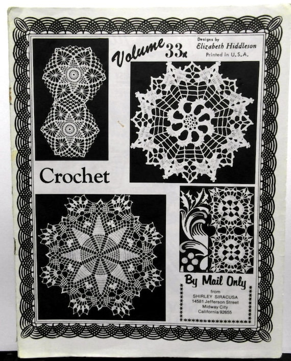Crochet Doily Patterns Elizabeth Hiddleson Vintage Originals Etsy