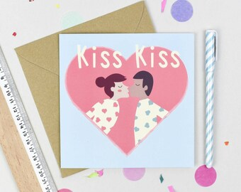 Kiss Kiss Valentines Loveheart carte