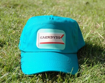 a40d5d0a7edb5 Caerdydd   Cardiff Welsh Children s 100% Cotton Baseball Cap in a Turquoise  Colour with an adjustable strap