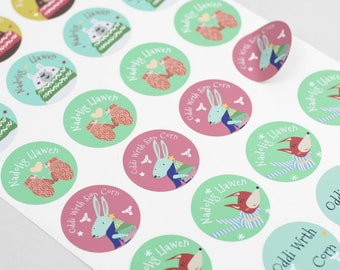 Sale/Sel Christmas Stickers- Circular Nadolig Llawen Welsh Christmas Sticker Sheet x 24 with Sion Corn for Christmas gifts, decorations