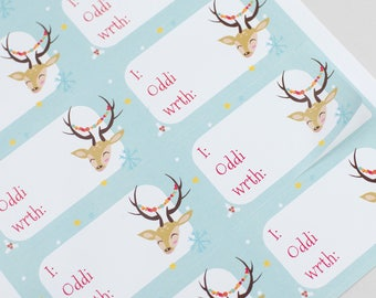 Sale/Sel - Welsh Christmas Sticky Labels- Rudolph Light Blue x 12 Gift Labels