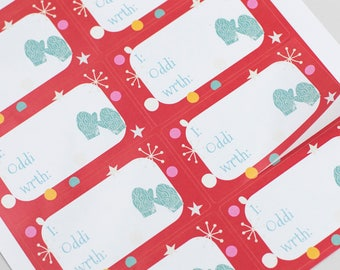 Welsh Christmas Sticky Labels- Red Mittens x 12 Gift Labels