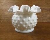 Vintage Fenton 4 quot Vase White Milk Glass Hobnail Ruffled Crimped Edge Ball Shape