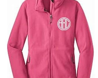 Monogrammed Womens Fleece Jacket, Personalized Ladies Fleece Jacket, Zip up Fleece Jacket, Lightweight Jacket, Zippered Jacket,Custom Jacket