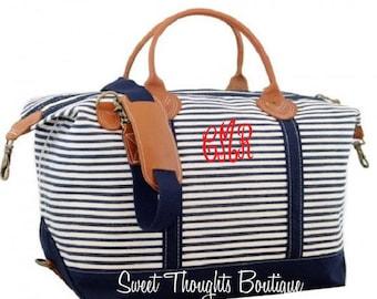 Monogrammed Striped Navy Canvas Weekender Bag, Monogrammed Bridesmaid Overnighter, Bridesmaid Weekender, Personalized Canvas Weekender