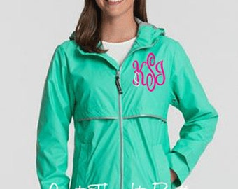 Monogrammed Ladies Rain Jacket, Personalized Womens Rain Jacket, Waterproof Jacket, Water Resistant Jacket, Monogrammed Poncho