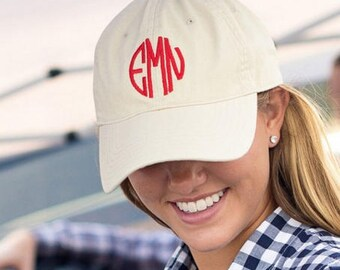 Monogrammed Khaki Baseball Hat, Monogrammed Cap, Womens Hat, Personalized Hat, Embroidered Hat, Baseball Hat, Bridesmaid Gift, Monogram Hat