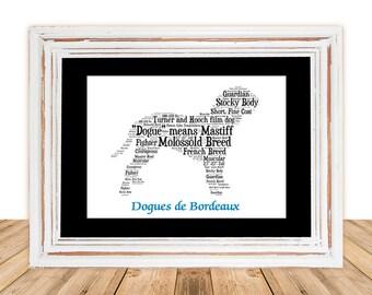 Dogues de Bordeaux,Dogues de Bordeaux art,Custom Dog Art,Personalize Pet Art,Pet Gift,Gift under 30,Pet Art,Pet Memorial, Custom Pet Art