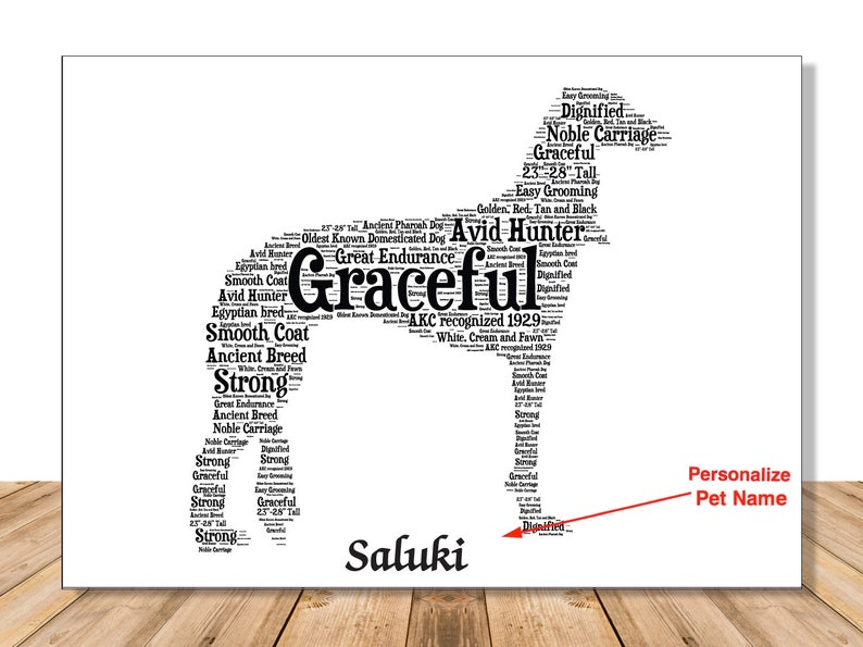 Saluki Dog, Personalize Dog Lover Gift for Custom Pet Portrait