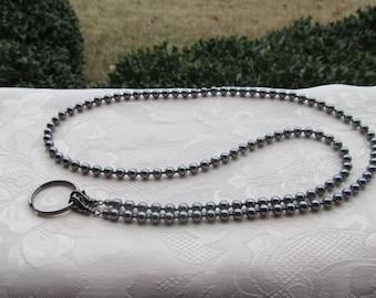 Dark Gray Pearl ID Badge Lanyard Swarovski Pearl Beaded Lanyard Necklace ID Badge Holder