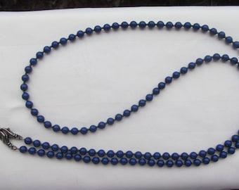 Dark Blue ID Badge Lanyard Swarovski Pearl Beaded Lanyard Necklace ID Badge Holder