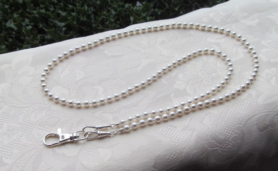 35ddee27a7e4e Swarovski Beaded Lanyard White Pearl ID Badge Lanyard Necklace ID Badge  Holder