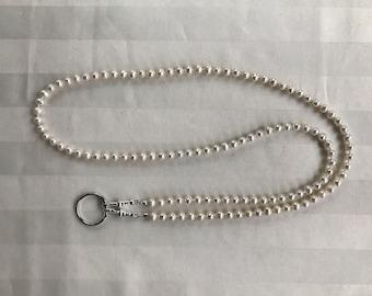 White Freshwater Pearl Lanyard Beaded Lanyard Necklace ID Badge Holder