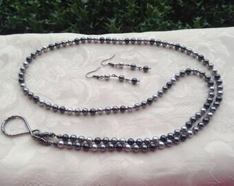 Shades of Gray Pearl ID Badge Lanyard Swarovski Pearl Beaded Lanyard Necklace ID Badge Holder