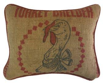 Turkey Feed Sack Pillow