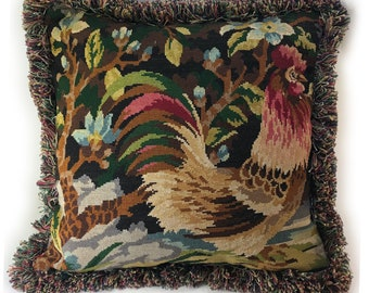 French Needlepoint Pillow of Rooster