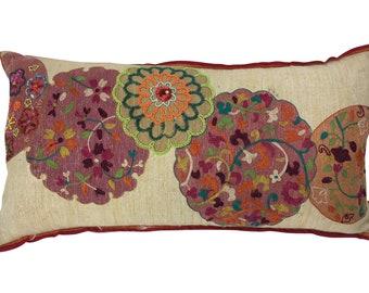 Beaded circles bolster pillow