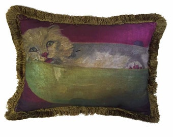 Agnes Sherman Painted Cat Pillow