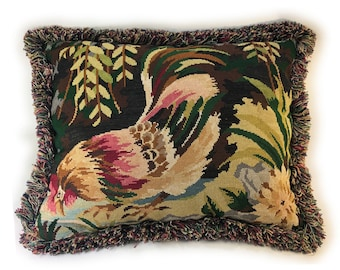 French Needlepoint Pillow of Chicken