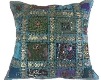 Embellished Ethnic Turquoise Pillow
