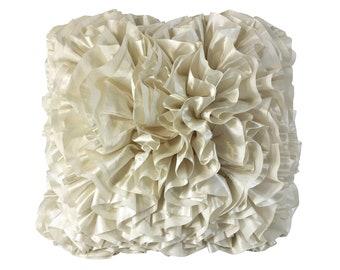 Luxurious White Ruffle Pillow
