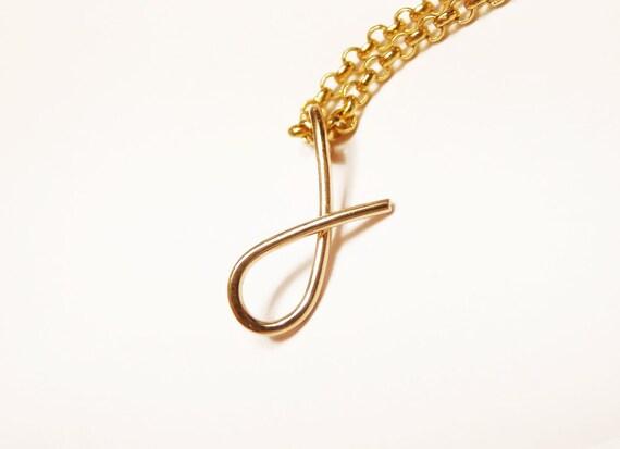 Buchstabe J erste Goldkette kursiven Buchstaben Kette 14 k