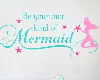 MERMAID Stars Vinyl Wall Decal Girls Quote Art Saying Words Nursery Room