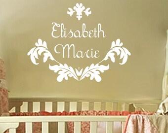 baby girl monogram wall decal name nursery damask vinyl. Black Bedroom Furniture Sets. Home Design Ideas