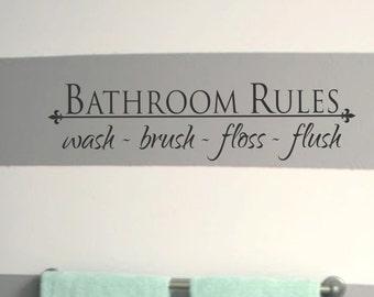 Exceptionnel Bathroom Wall Decal Bathroom Decor Home Wall Decal Kids Bathroom Decals  Kids Bathroom Decor Bathroom Rules Wash Brush Floss Flush Wall Vinyl