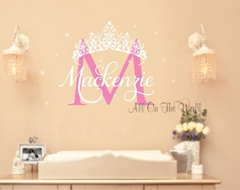 Princess Wall Decal Baby Girl Name Decal Crown Decals Princess Nursery Decal Personalized Wall Art Girl Bedroom Decor Stars Decals Gold  sc 1 st  Etsy & Princess wall decal | Etsy
