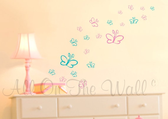 butterflies wall decals baby girl nursery vinyl wall stickers | etsy