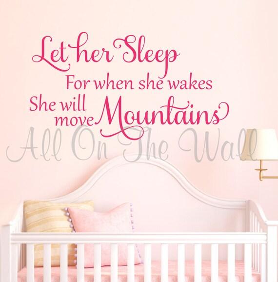 children Vinyl decal Lettering wall  art words art  nursery decals girls Bedroom    itswritteninvinyl Let her sleep...