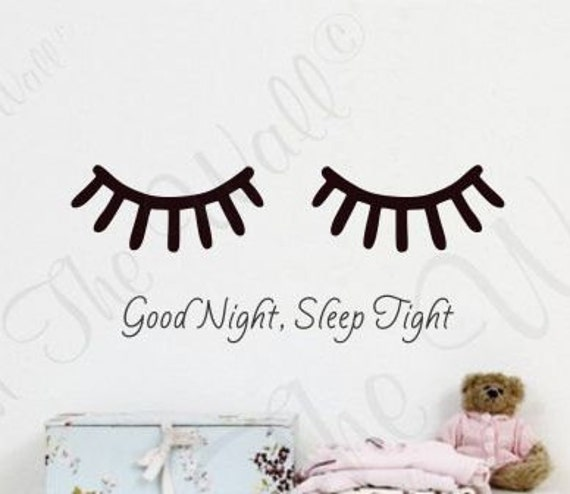 eyelash wall decal sleepy eyes decal good night sleep tight | etsy
