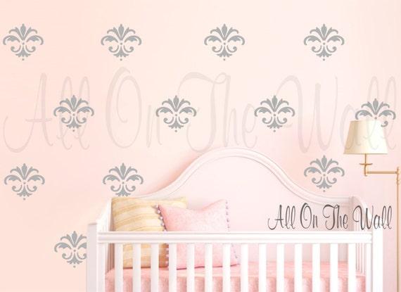 Damask Wall Decal Baby Girl Nursery Decals Damask Decor Fleur De Lis Decals  Master Bedroom Decor Wall Decal Wall Sticker Damask Pattern Art