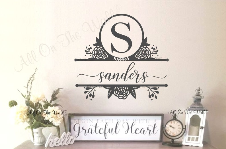 Last Name Sign Personalized Family Name Sign Name Vinyl Wall Decal Farmhouse Decor Personalized Decal Last Name Decal  Family Name Decal