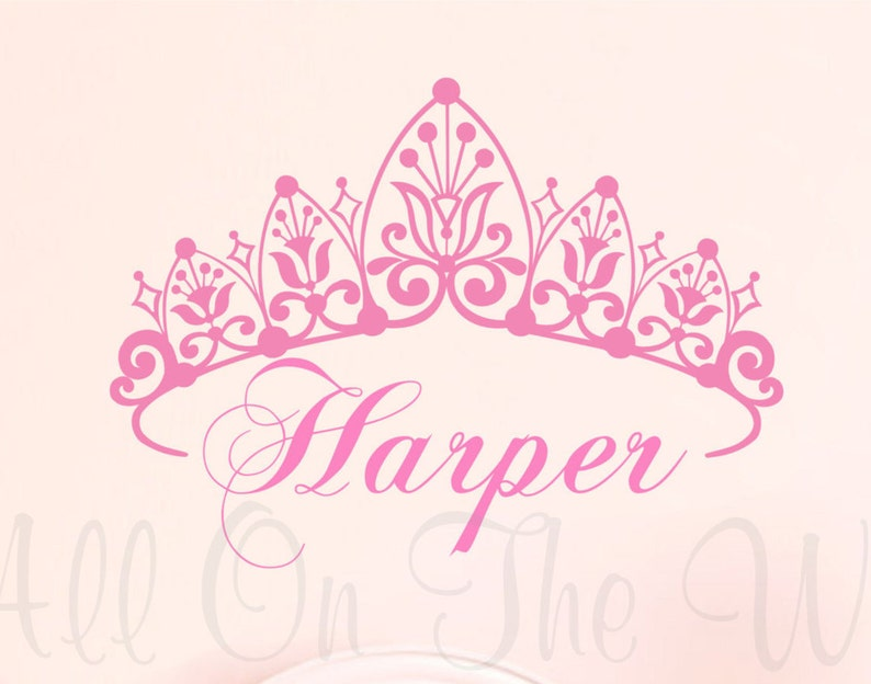 Princess Wall Decal Baby Girl Nursery Decals Name Decal Crown Decals Tiarra Wall Decal Girls Bedroom Decor Vinyl Lettering