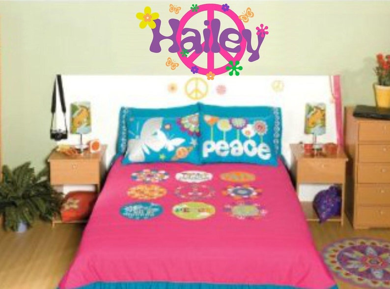 Peace Sign Wall Decal Girl Name Wall Decal Retro Decor Flowers Peace Sign  Wall Art Teen Bedroom Decals Girls Peace Sign Decor Decal Set