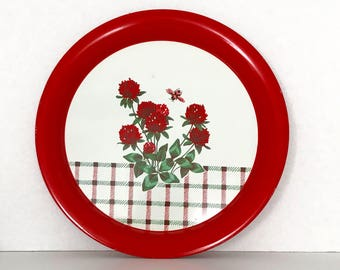 Vintage Red and White Floral Metal Tray, Decorative Metal Plate, Mid Century, Red and White Kitchen Decor