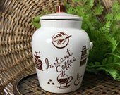Sale Vintage Ceramic Instant Coffee Jar with Cork Stopper Lid Instant Coffee Container JAPAN