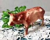 Vintage Hard Plastic Brown Cow Farm Animal Nativity Manger Animal Figurine Collectible Mid Century