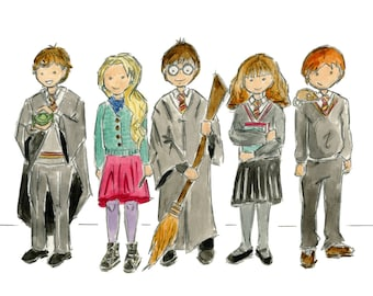 Harry Potter Wizards Watercolor